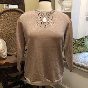 Reba NWOT-3X Dusky Pink Metallic Jeweled Sweater